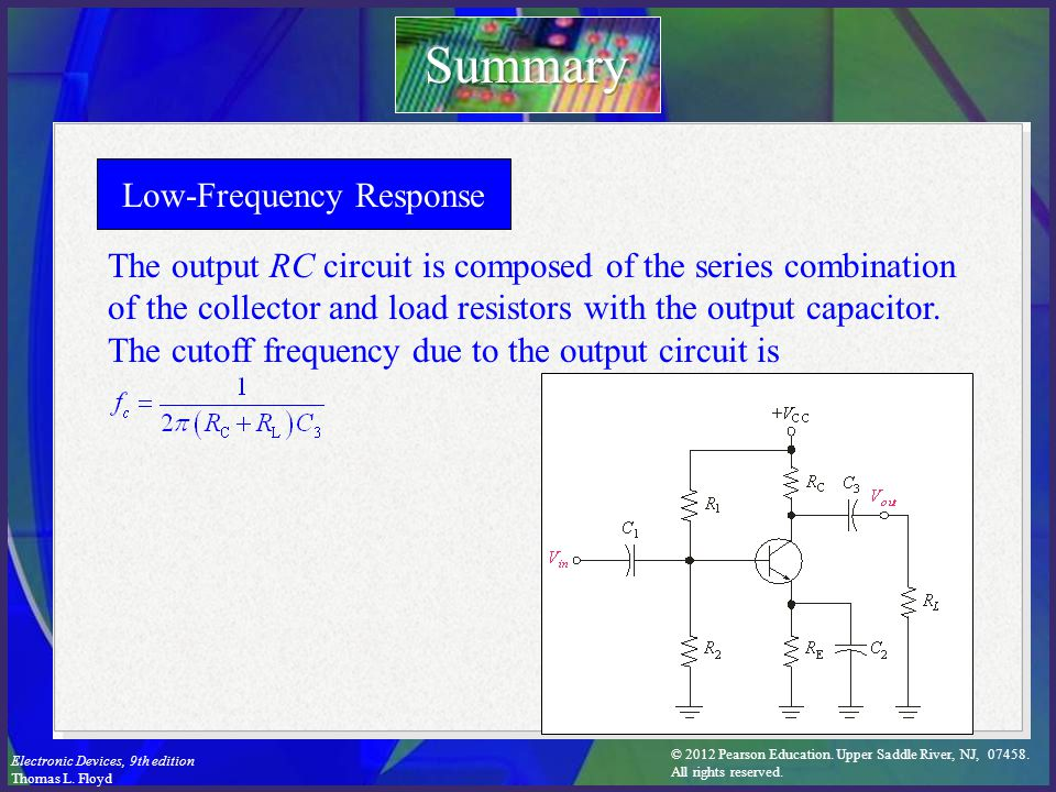 © 2012 Pearson Education. Upper Saddle River, NJ, 07458. All rights reserved. Electronic Devices, 9th edition Thomas L. Floyd Low-Frequency Response T