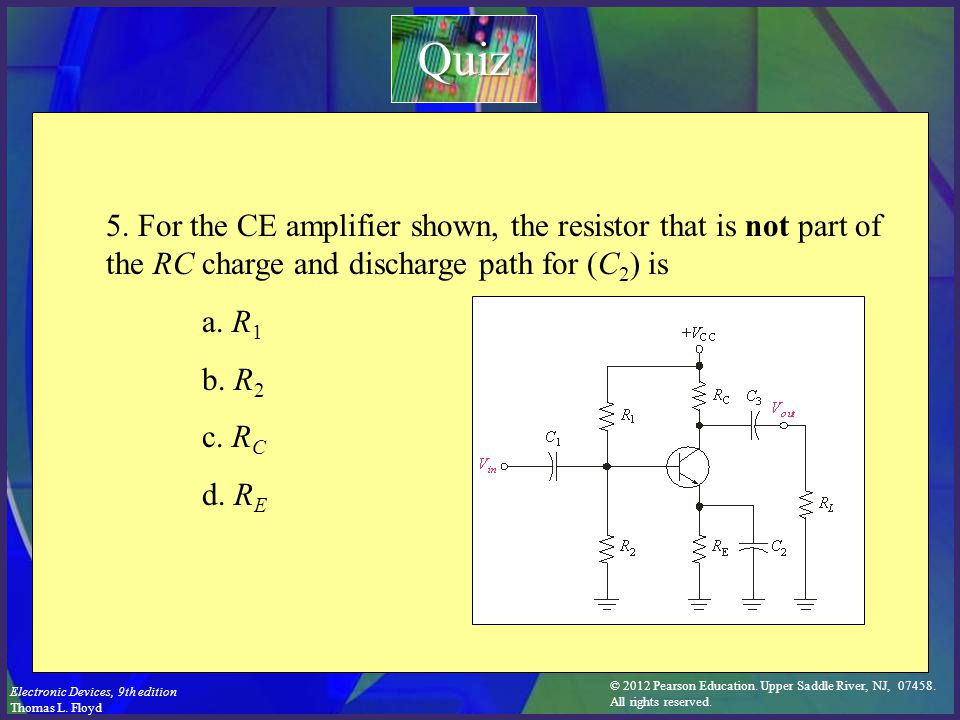 © 2012 Pearson Education. Upper Saddle River, NJ, 07458. All rights reserved. Electronic Devices, 9th edition Thomas L. Floyd 5. For the CE amplifier