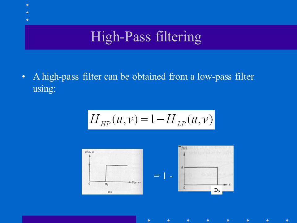 High-Pass filtering A high-pass filter can be obtained from a low-pass filter using: = 1 - D0D0