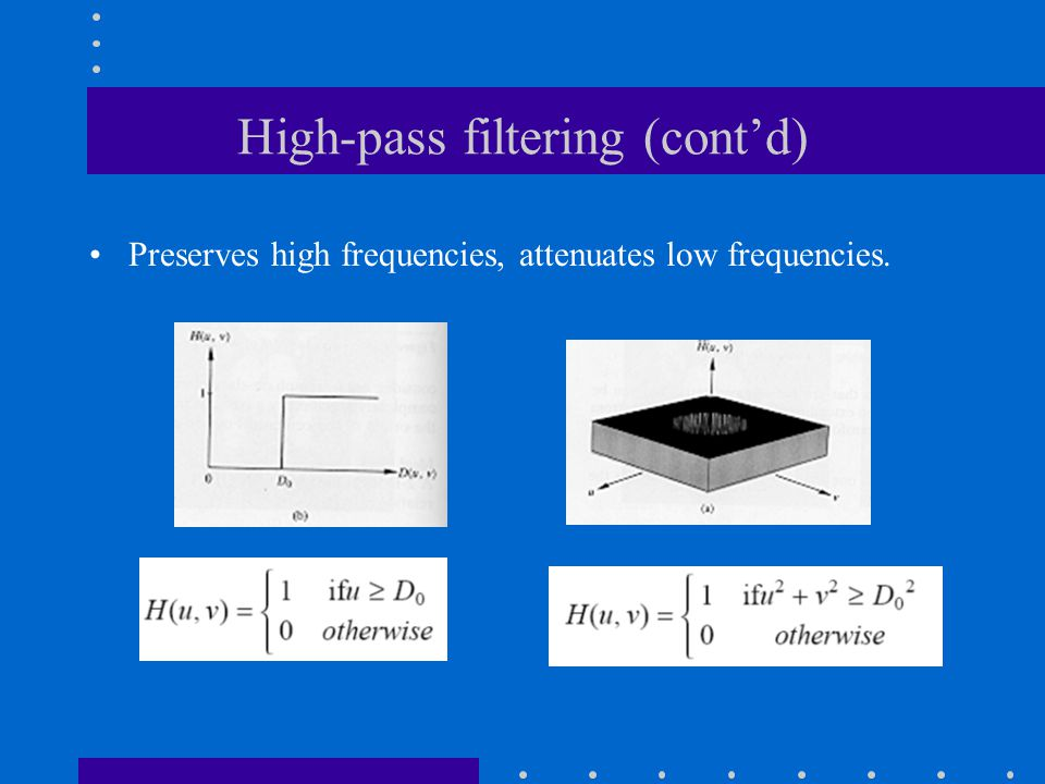 High-pass filtering (cont'd) Preserves high frequencies, attenuates low frequencies.