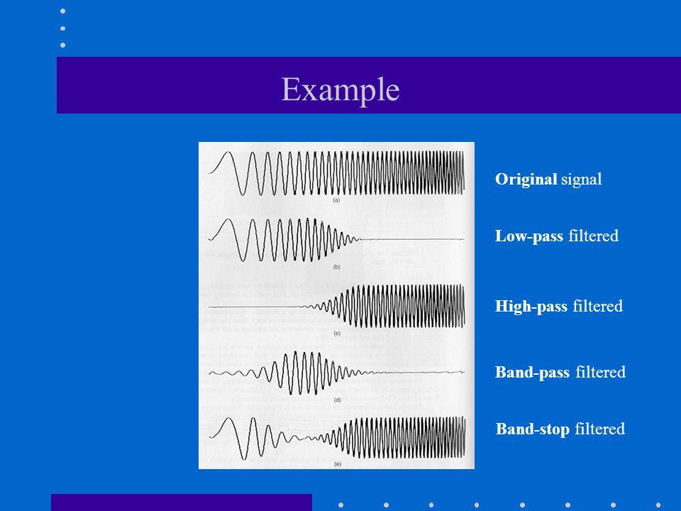 Example Original signal Low-pass filtered High-pass filtered Band-pass filtered Band-stop filtered