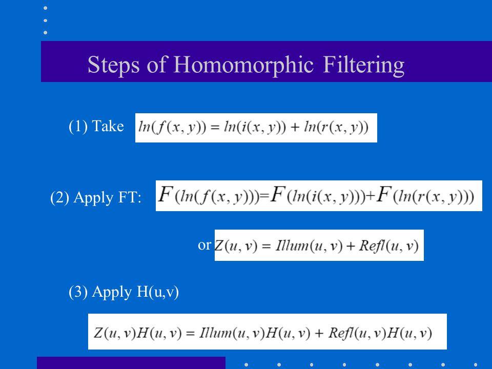 Steps of Homomorphic Filtering (1) Take (2) Apply FT: or (3) Apply H(u,v)