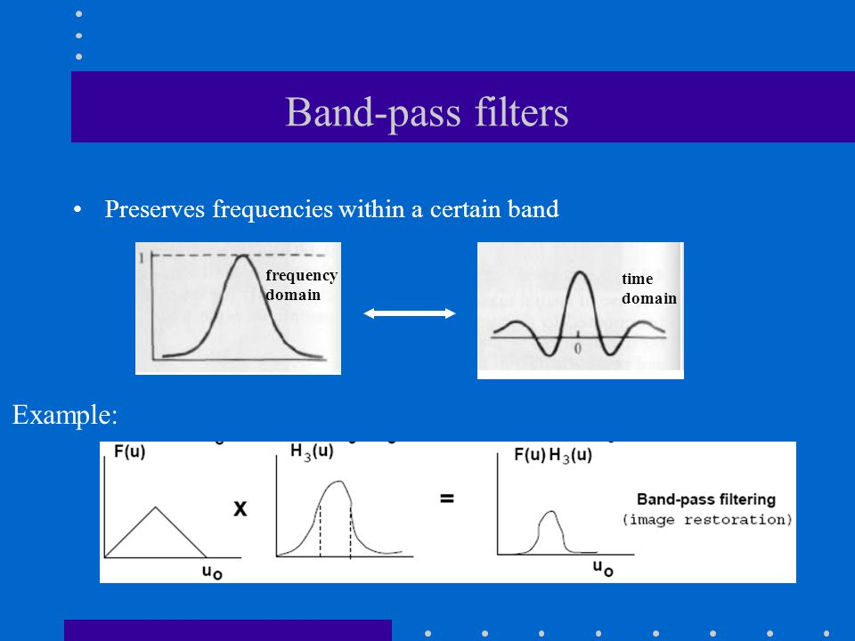 Band-pass filters Preserves frequencies within a certain band frequency domain time domain Example: