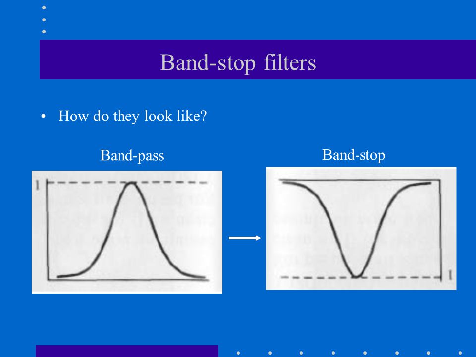 Band-stop filters How do they look like? Band-pass Band-stop