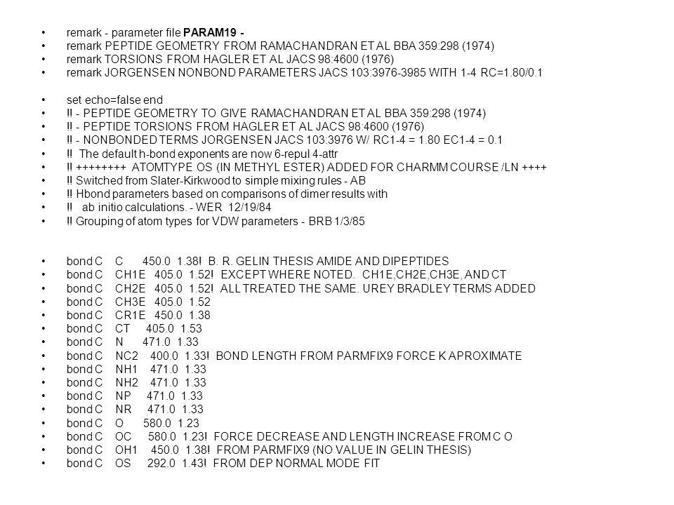 remark - parameter file PARAM19 - remark PEPTIDE GEOMETRY FROM RAMACHANDRAN ET AL BBA 359:298 (1974) remark TORSIONS FROM HAGLER ET AL JACS 98:4600 (1