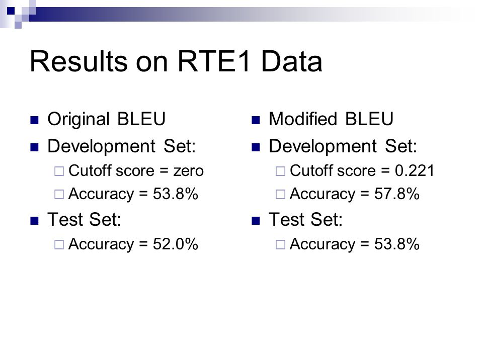 Results on RTE1 Data Original BLEU Development Set:  Cutoff score = zero  Accuracy = 53.8% Test Set:  Accuracy = 52.0% Modified BLEU Development Se