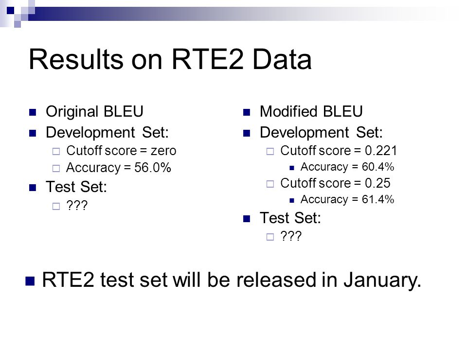 Results on RTE2 Data Original BLEU Development Set:  Cutoff score = zero  Accuracy = 56.0% Test Set:  ??? Modified BLEU Development Set:  Cutoff s