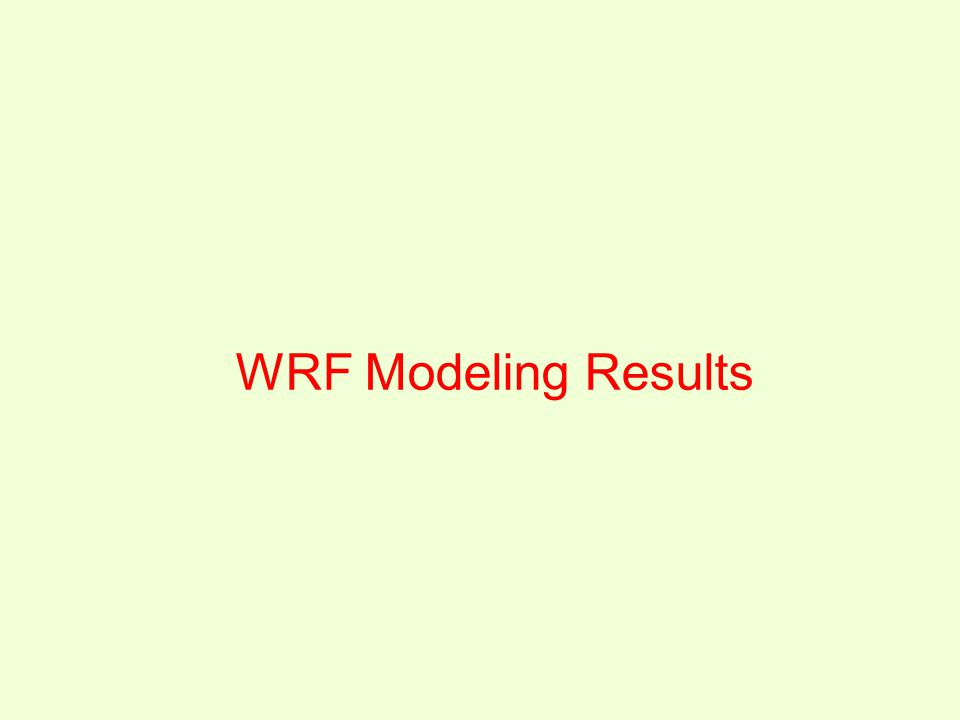 WRF Modeling Results