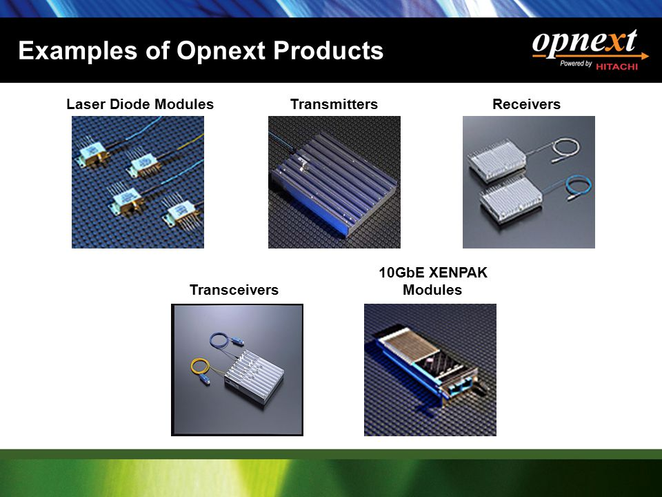 Examples of Opnext Products Laser Diode ModulesTransmittersReceivers Transceivers 10GbE XENPAK Modules