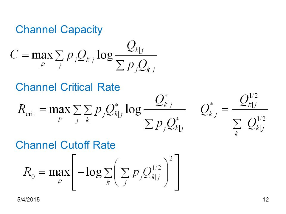 Channel Capacity Channel Critical Rate Channel Cutoff Rate 5/4/201512