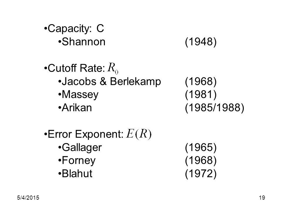 Capacity: C Shannon(1948) Cutoff Rate: Jacobs & Berlekamp(1968) Massey(1981) Arikan(1985/1988) Error Exponent: Gallager(1965) Forney(1968) Blahut(1972) 5/4/201519