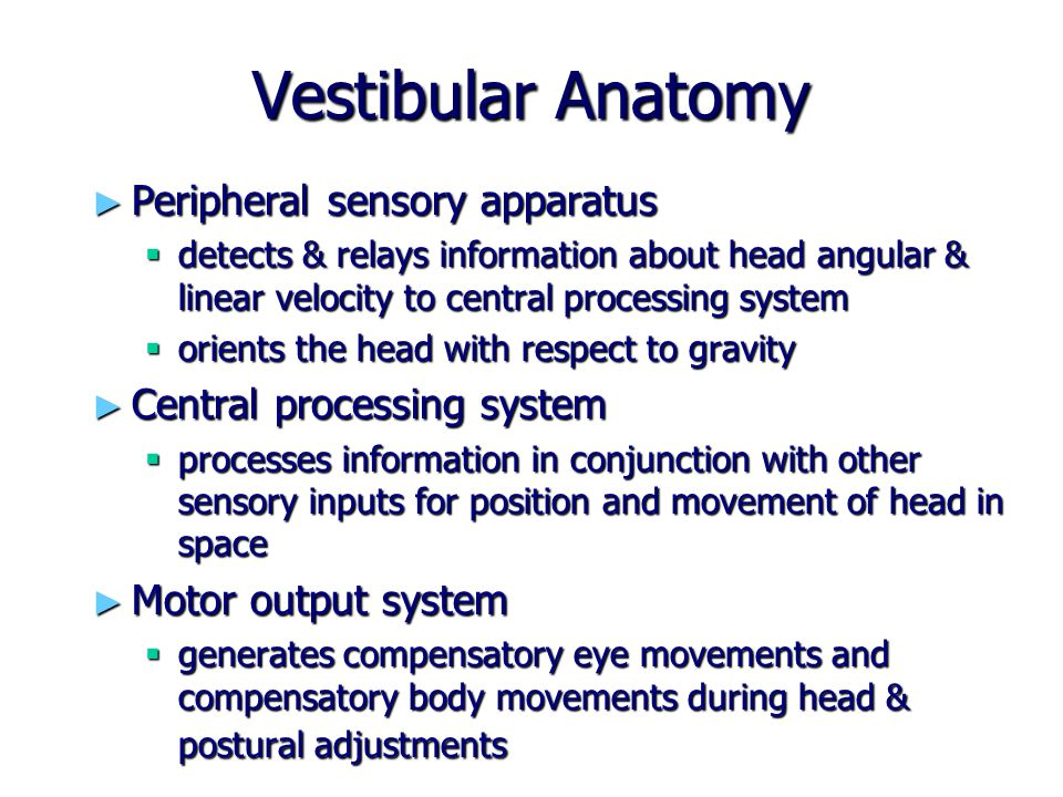 Vertigo ► An asymmetrical firing of the two vestibular systems ► Gives an illusion of spinning, movement ► Indicative of any one or combination of causes (acute UVH, BPPV, brainstem lesion, vascular hypotension…)