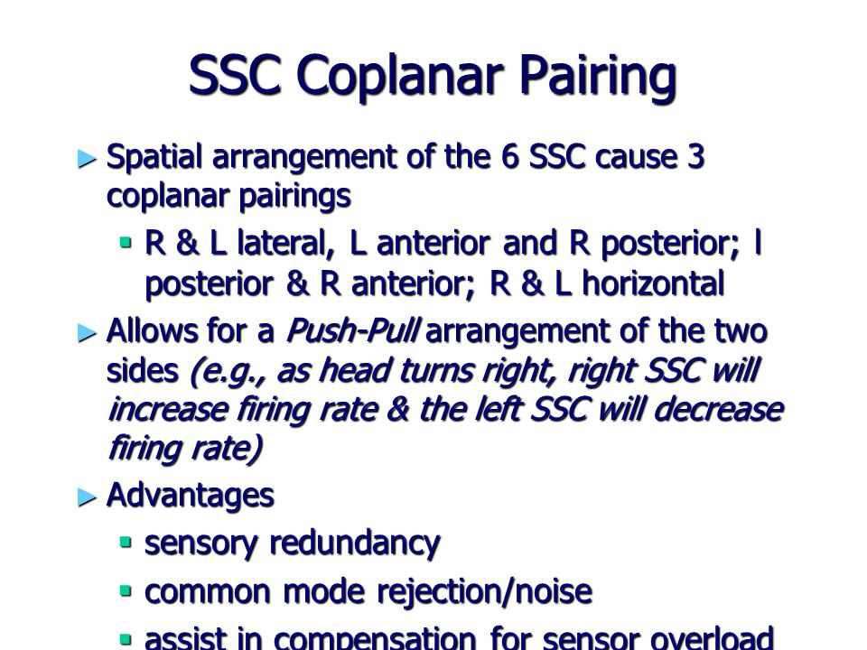 SSC Coplanar Pairing ► Spatial arrangement of the 6 SSC cause 3 coplanar pairings  R & L lateral, L anterior and R posterior; l posterior & R anterio