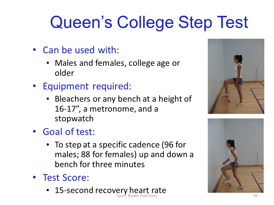 Sport Books Publisher36 Queen's College Step Test Can be used with: Males and females, college age or older Equipment required: Bleachers or any bench at a height of 16-17 , a metronome, and a stopwatch Goal of test: To step at a specific cadence (96 for males; 88 for females) up and down a bench for three minutes Test Score: 15-second recovery heart rate