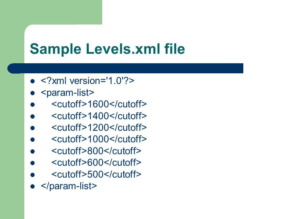 Sample Levels.xml file 1600 1400 1200 1000 800 600 500