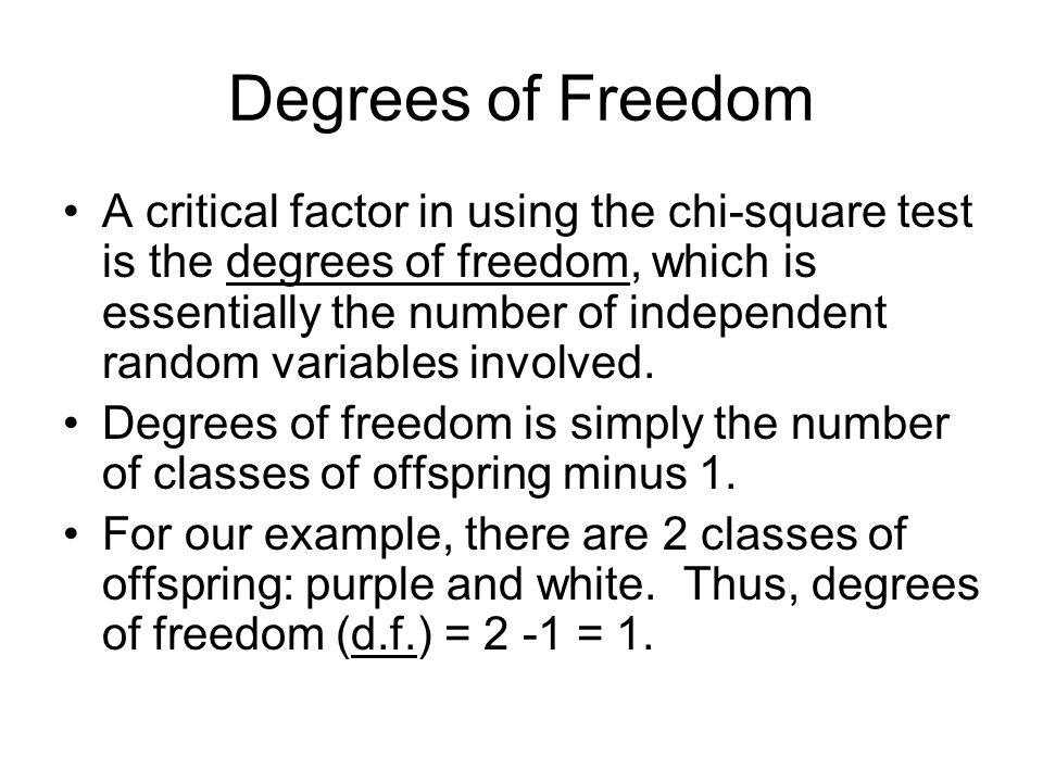 Degrees of Freedom A critical factor in using the chi-square test is the degrees of freedom, which is essentially the number of independent random variables involved.