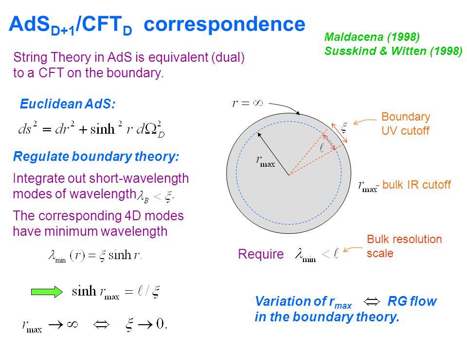 AdS D+1 /CFT D correspondence Maldacena (1998) Susskind & Witten (1998) Euclidean AdS: Boundary UV cutoff - bulk IR cutoff Variation of r max RG flow in the boundary theory.