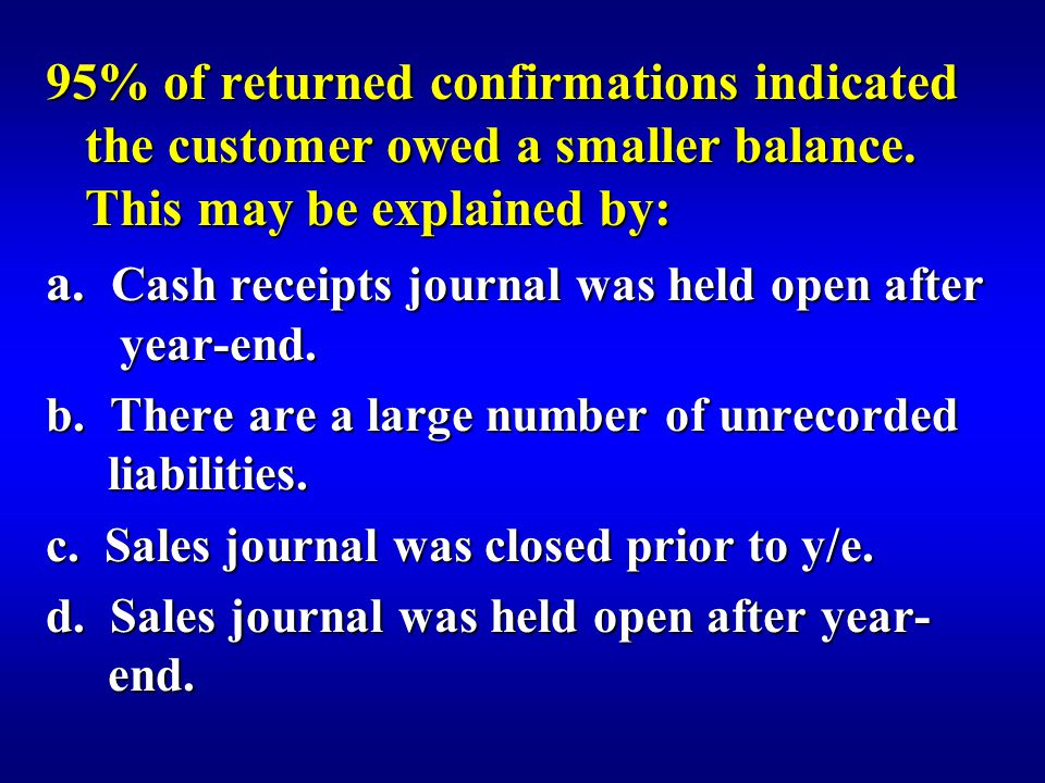 95% of returned confirmations indicated the customer owed a smaller balance.