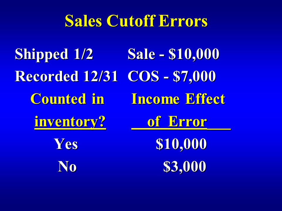 Sales Cutoff Errors Shipped 1/2Sale - $10,000 Recorded 12/31COS - $7,000 Counted in Income Effect Counted in Income Effect inventory.
