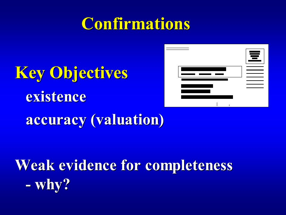 Confirmations Key Objectives existence accuracy (valuation) Weak evidence for completeness - why?
