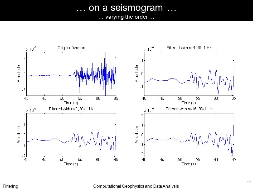 FilteringComputational Geophysics and Data Analysis 19 … on a seismogram … … varying the order …
