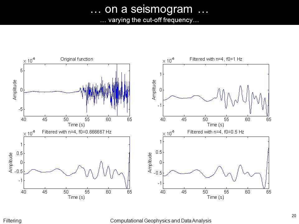 FilteringComputational Geophysics and Data Analysis 20 … on a seismogram … … varying the cut-off frequency…