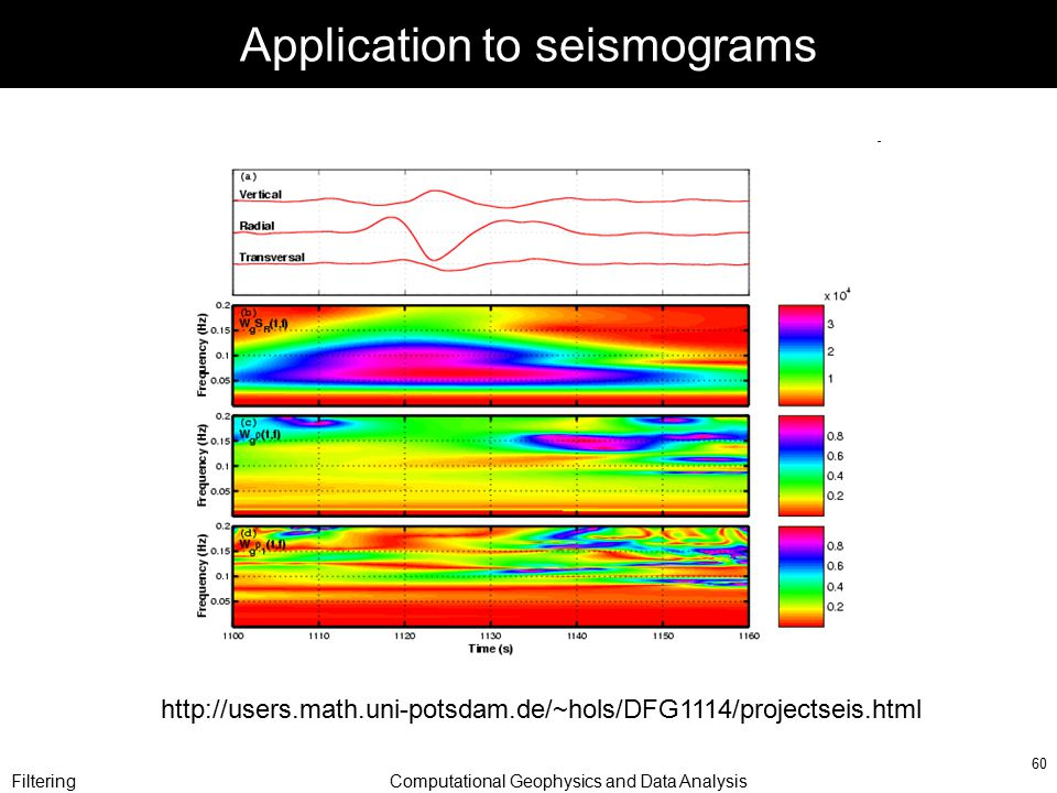 FilteringComputational Geophysics and Data Analysis 60 Application to seismograms http://users.math.uni-potsdam.de/~hols/DFG1114/projectseis.html