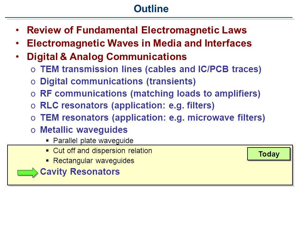 Review of Fundamental Electromagnetic Laws Electromagnetic Waves in Media and Interfaces Digital & Analog Communications oTEM transmission lines (cables and IC/PCB traces) oDigital communications (transients) oRF communications (matching loads to amplifiers) oRLC resonators (application: e.g.