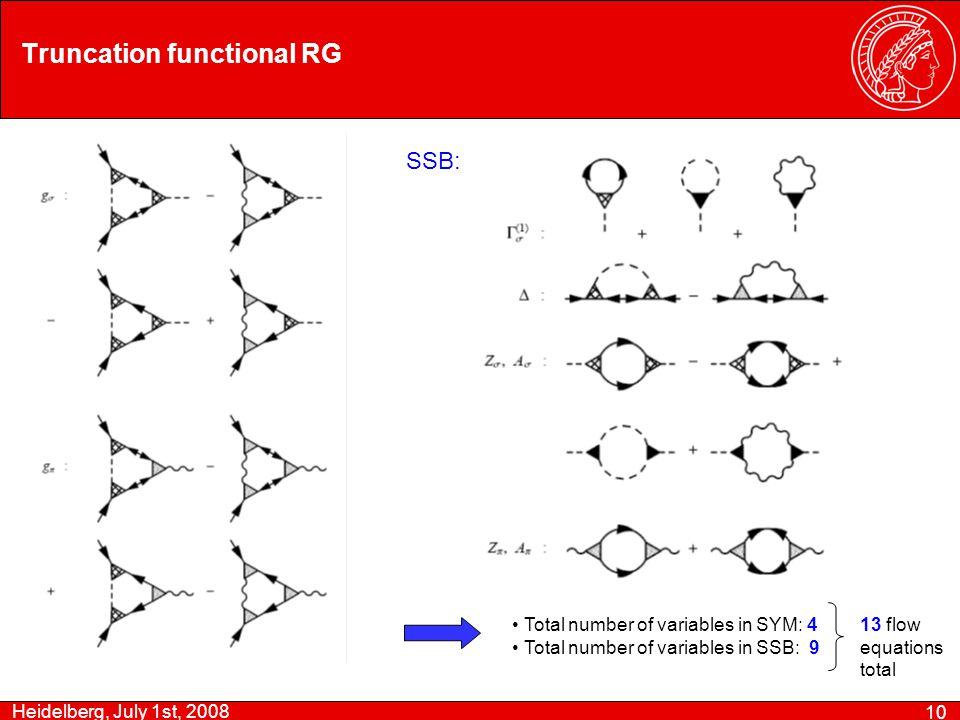 Heidelberg, July 1st, 2008 10 Truncation functional RG Total number of variables in SYM: 4 Total number of variables in SSB: 9 13 flow equations total SSB: