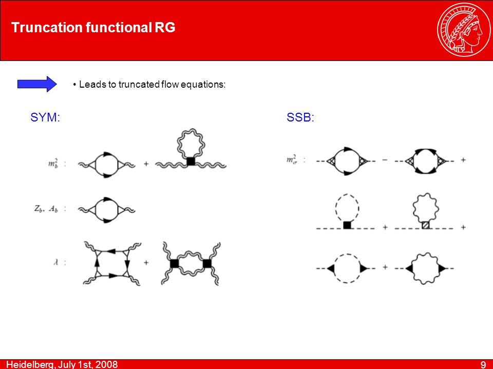 Heidelberg, July 1st, 2008 9 Truncation functional RG Leads to truncated flow equations: SYM:SSB: