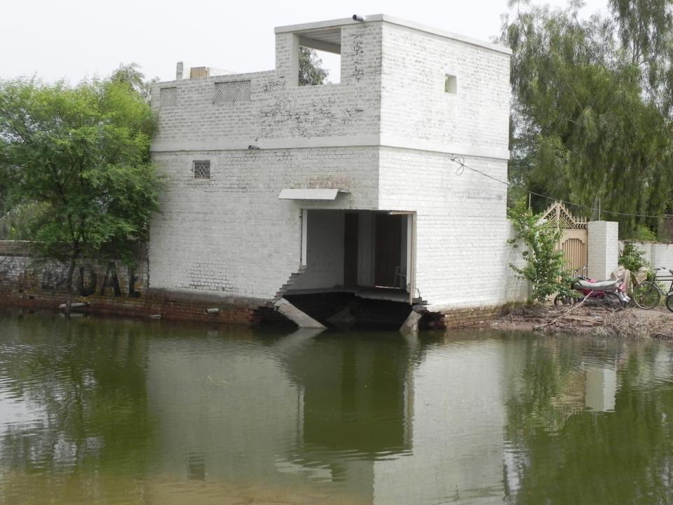 Erosion of base by flash flooding