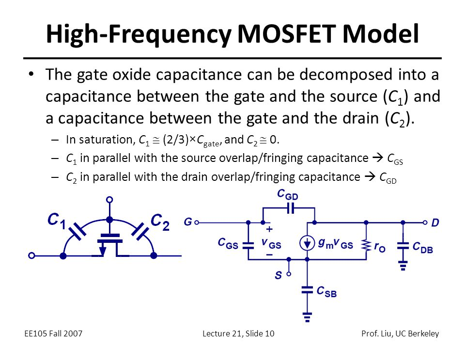 EE105 Fall 2007Lecture 21, Slide 10Prof. Liu, UC Berkeley High-Frequency MOSFET Model The gate oxide capacitance can be decomposed into a capacitance