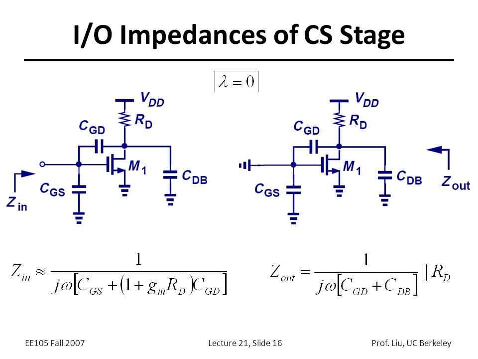 EE105 Fall 2007Lecture 21, Slide 16Prof. Liu, UC Berkeley I/O Impedances of CS Stage