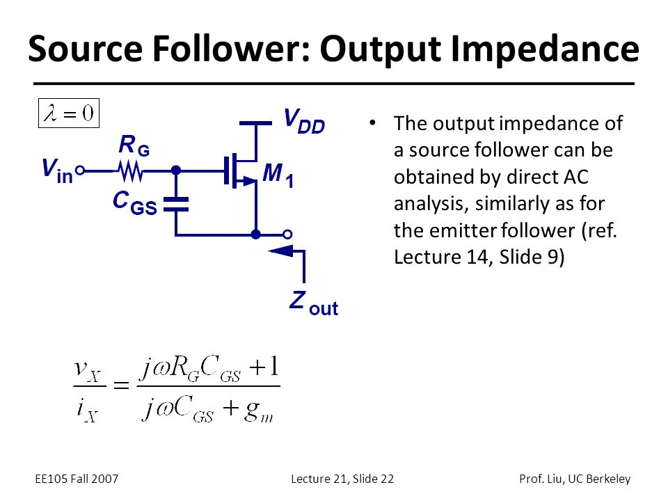 EE105 Fall 2007Lecture 21, Slide 22Prof. Liu, UC Berkeley Source Follower: Output Impedance The output impedance of a source follower can be obtained