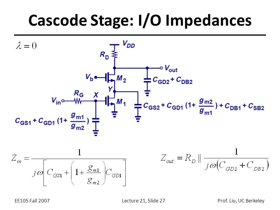 EE105 Fall 2007Lecture 21, Slide 27Prof. Liu, UC Berkeley Cascode Stage: I/O Impedances