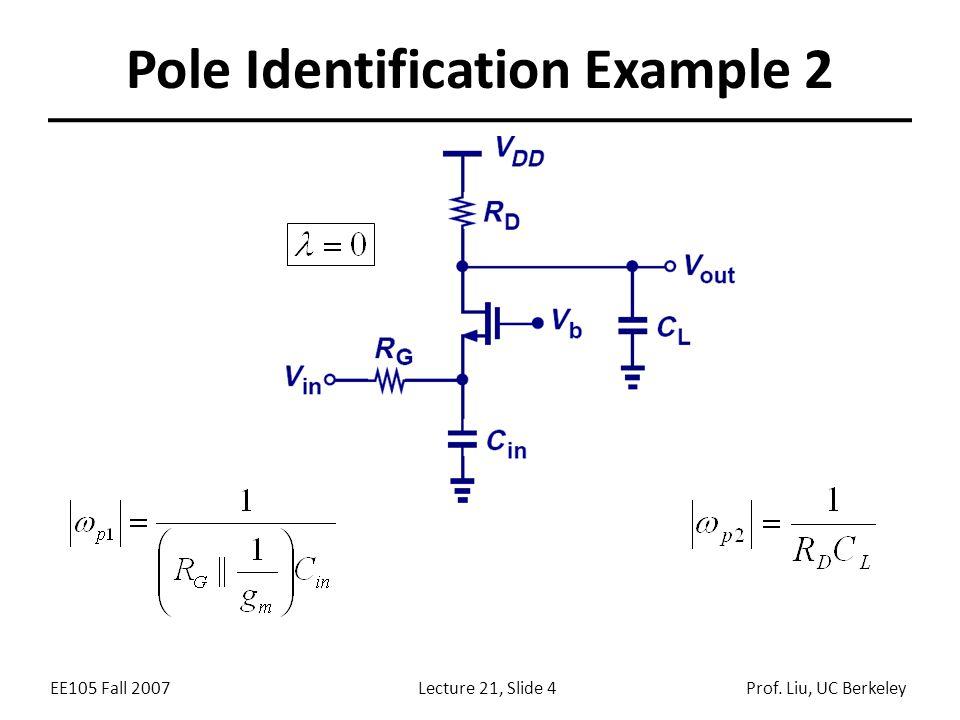 EE105 Fall 2007Lecture 21, Slide 4Prof. Liu, UC Berkeley Pole Identification Example 2