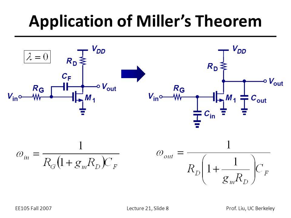 EE105 Fall 2007Lecture 21, Slide 8Prof. Liu, UC Berkeley Application of Miller's Theorem