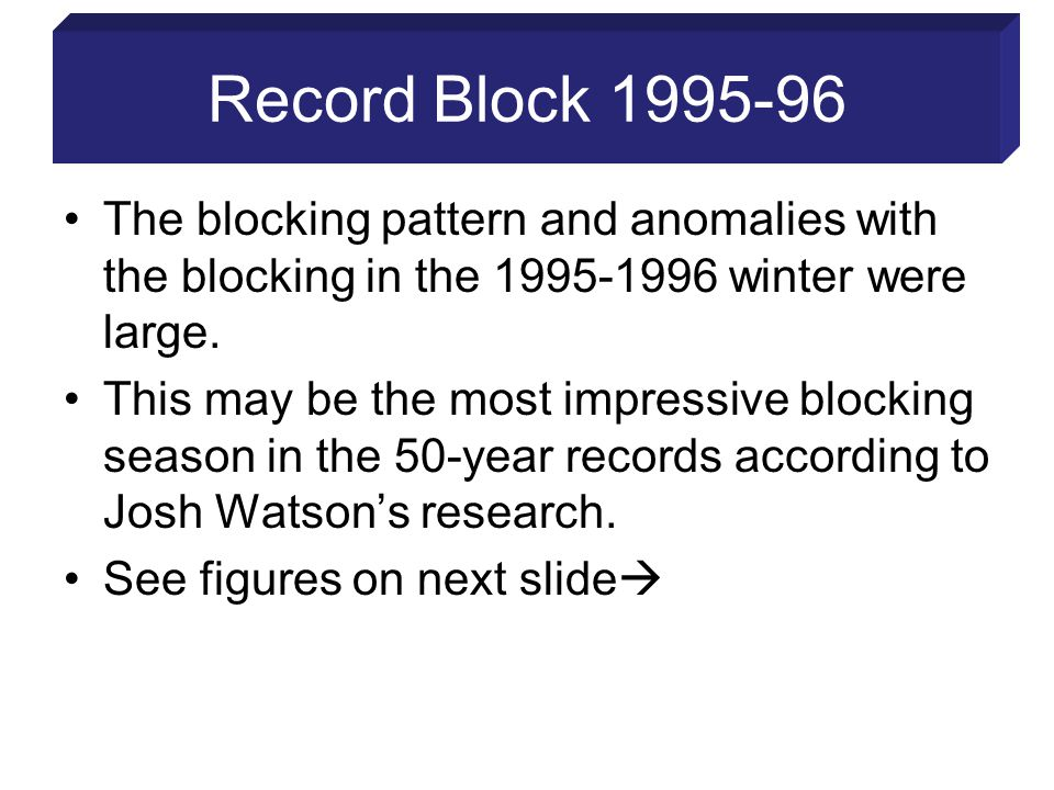 Record Block 1995-96 The blocking pattern and anomalies with the blocking in the 1995-1996 winter were large.