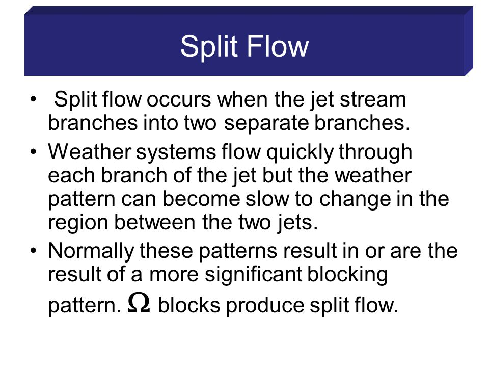 Split Flow Split flow occurs when the jet stream branches into two separate branches.