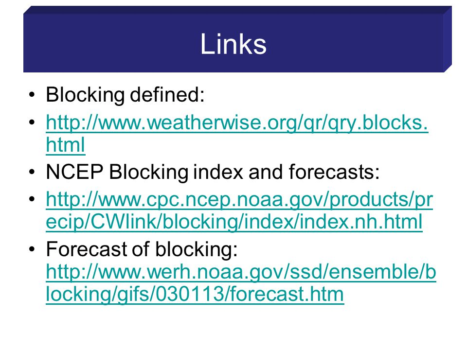 Links Blocking defined: http://www.weatherwise.org/qr/qry.blocks.