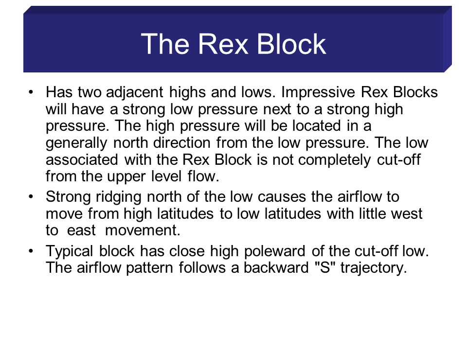 The Rex Block Has two adjacent highs and lows.