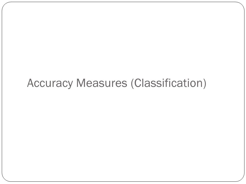 Accuracy Measures (Classification)