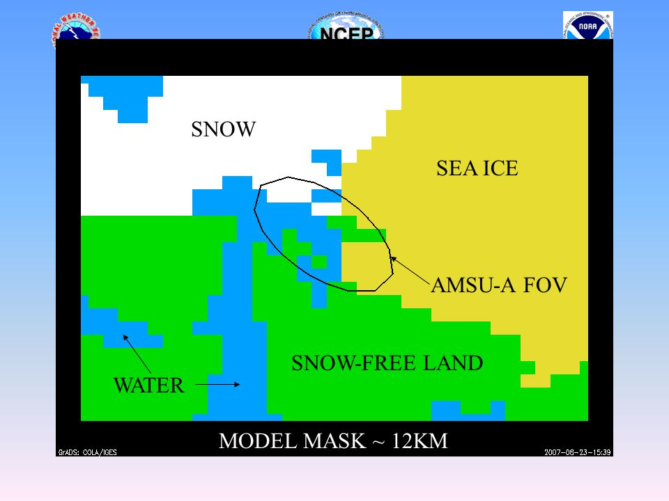 AMSU-A FOV SNOW SEA ICE SNOW-FREE LAND WATER MODEL MASK ~ 12KM