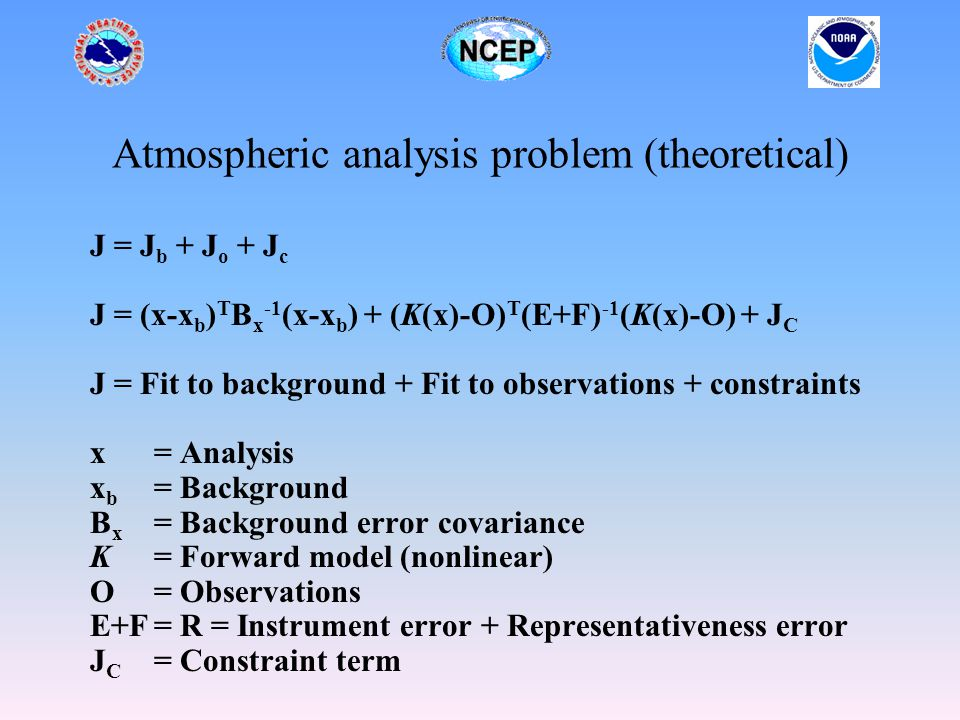 Atmospheric analysis problem (theoretical) J = J b + J o + J c J = (x-x b ) T B x -1 (x-x b ) + (K(x)-O) T (E+F) -1 (K(x)-O) + J C J = Fit to background + Fit to observations + constraints x= Analysis x b = Background B x = Background error covariance K= Forward model (nonlinear) O= Observations E+F= R = Instrument error + Representativeness error J C = Constraint term