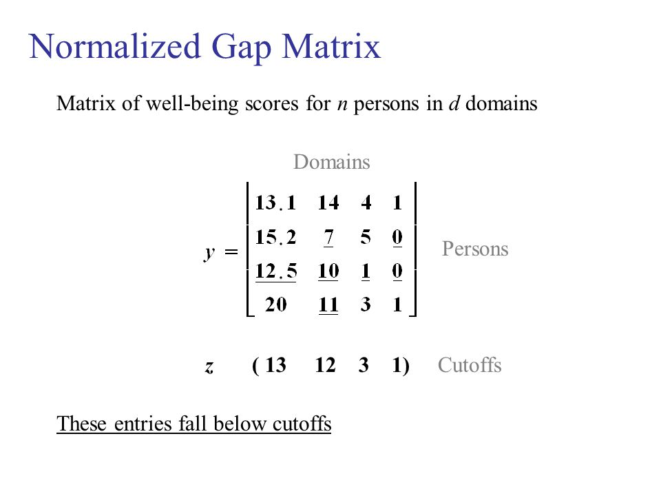 Normalized Gap Matrix Matrix of well-being scores for n persons in d domains Domains Persons z ( 13 12 3 1) Cutoffs These entries fall below cutoffs