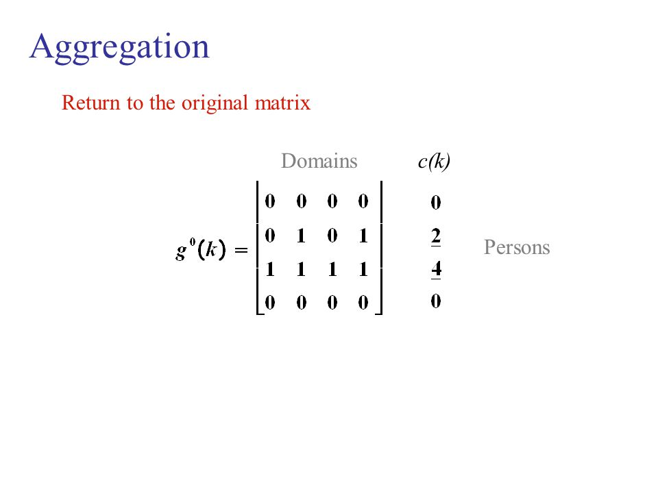 Aggregation Return to the original matrix Domains c(k) Persons
