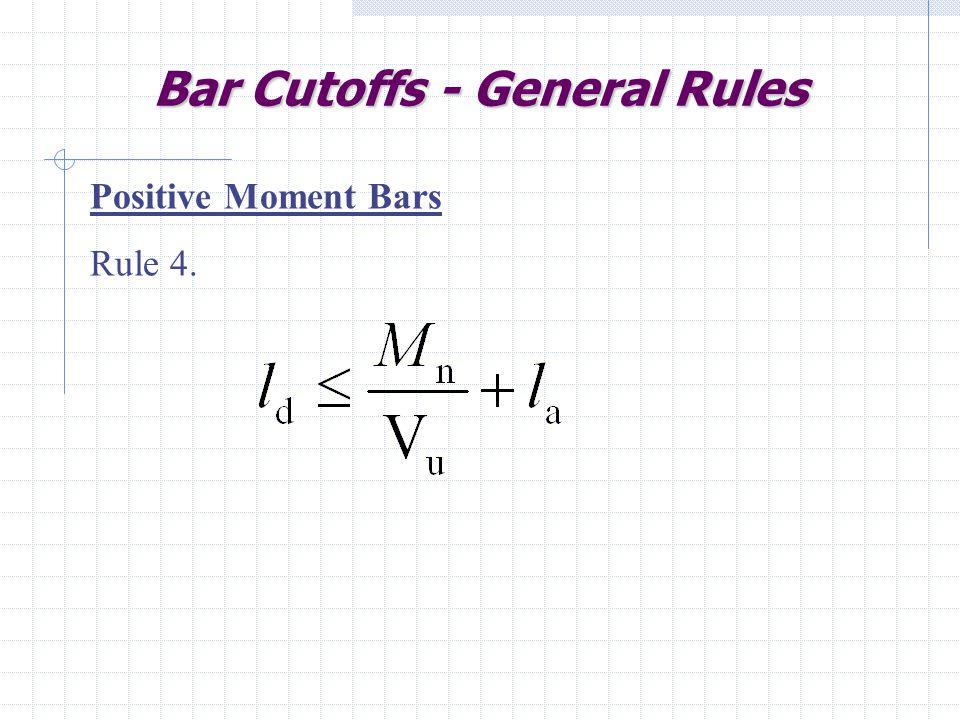 Bar Cutoffs - General Rules Positive Moment Bars Rule 4.