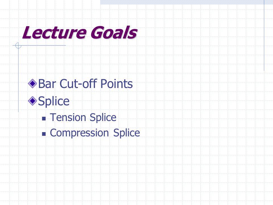 Lecture Goals Bar Cut-off Points Splice Tension Splice Compression Splice