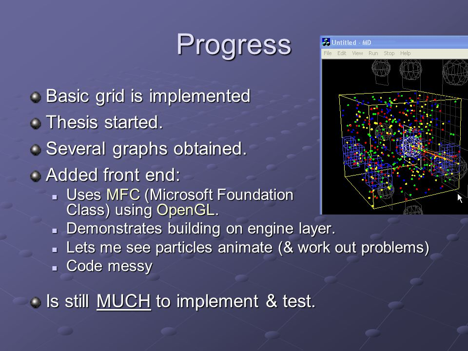 Progress Basic grid is implemented Thesis started.