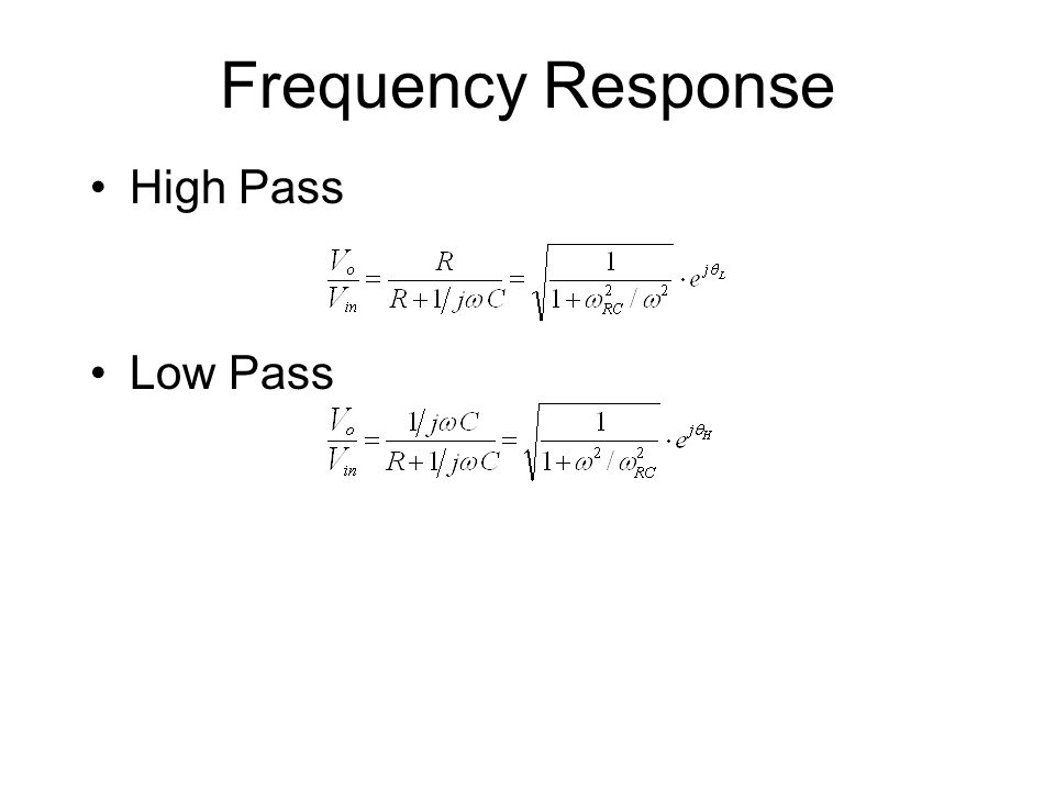 Frequency Response High Pass Low Pass